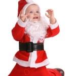 Girl in costume of santa claus. — Stock Photo