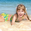 Happy girl at sea beach. — Foto de Stock