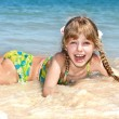 Happy girl at sea beach. — Stok fotoğraf
