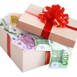 Royalty-Free Stock Photo: Gift box with banknote of euro.