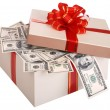 Gift box with banknote of dollar. - Stok fotoğraf