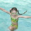 Girl in goggles learn swiml. — Stock Photo #1049356