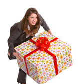 Smile business woman with big gift box — Stock Photo