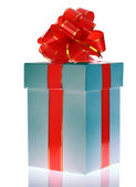 Gift box and red bow. — Stock Photo