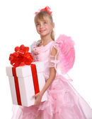Angel with pink wings and white gift box — Stock Photo