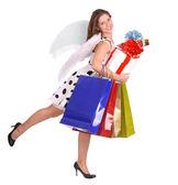 Engel mit Geschenk-Tasche und box. — Stockfoto