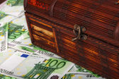 Box on euro banknote. — Stock Photo