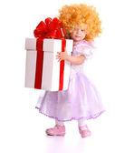 Garota na fantasia de boneca com caixa de presente. — Foto Stock