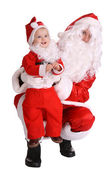 Couple of santa clause wait christmas. — Stock Photo