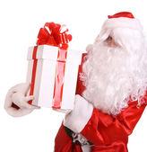Santa claus donnant un coffret blanc. — Photo