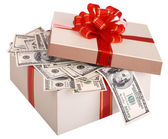 Gift box with banknote of dollar. — Stock Photo