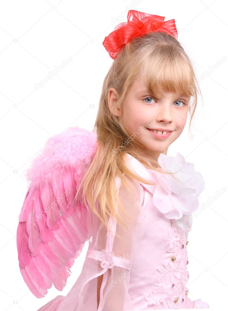 The girl in costume of angel. Isolated. — Stock Photo #1049138