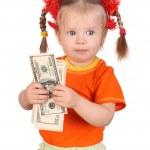Child girl in orange with dollar money. — Stock Photo #1050495