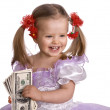 Baby girl with dollar banknote. — Stock Photo #1050526