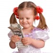Baby girl with dollar banknote. — Stock Photo #1050528