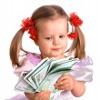 Money euro and child girl in dress. — Stock fotografie
