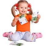 Child in orange t-shirt with money euro. — Stock Photo