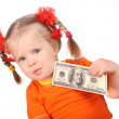 Baby with money in hand. — Stock Photo