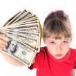 Girl in red sport t-shirt with money. — Stock Photo