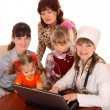 Doctor with stethoscope and family. — Stock Photo #1056595