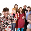 Stock Photo: Big group of teenager. Problem.