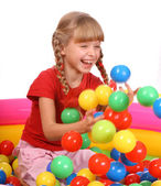 Birthday smiling girl with game ball. — Stock Photo