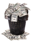 A money is in a trash bucket. — Stock Photo