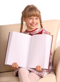 Happiness girl show empty book. — Stockfoto