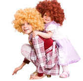 Group of curly child in doll costume. — Stock Photo