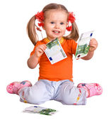 Child in orange t-shirt with money euro. — Stock Photo
