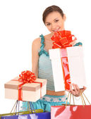 Woman with gift box and bow. — Stock Photo