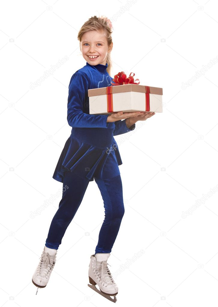 Child girl sport figure skating in white skate with gift box.  Isolated.  Stock Photo #1050541
