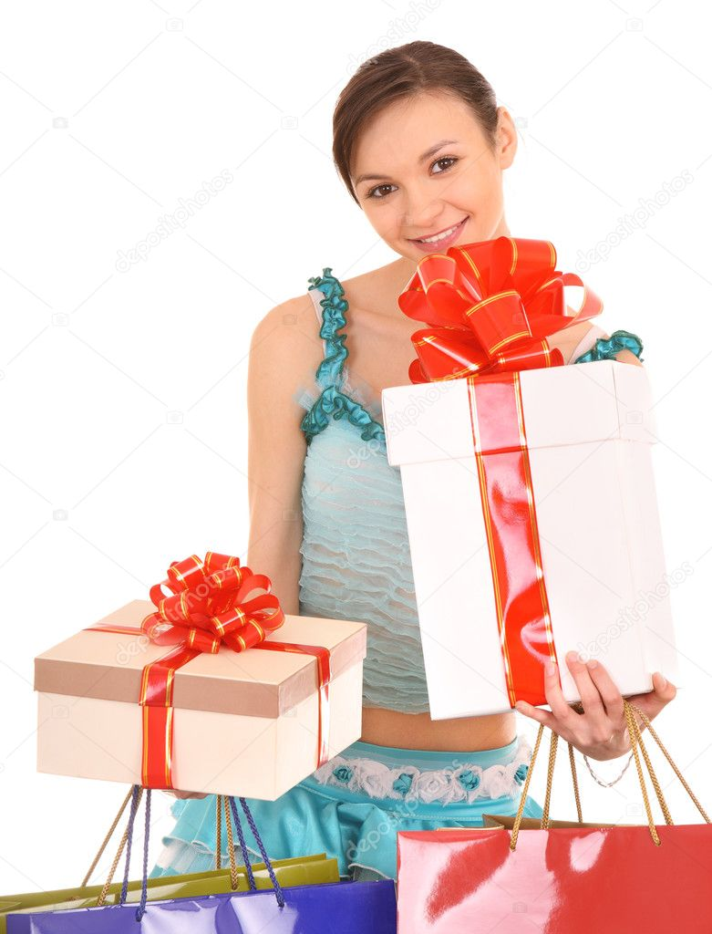 Woman with gift box and bow. Isolated. — Stock Photo #1056870