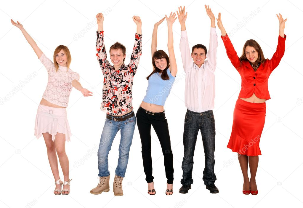 Cheerful group of young . Isolated. — Stock Photo #1057698