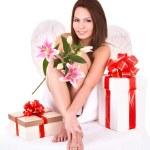 Angel girl with gift box.Halloween. — Stock Photo