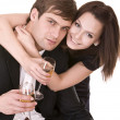 Stock Photo: Couple of girl and man drink wine.