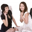 Stock Photo: Two girl in angel costume. Isolated.