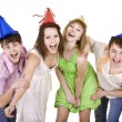 Stock Photo: Group of celebrate birthday.