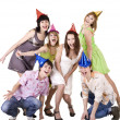 Photo: Group of teenagers celebrate birthday.