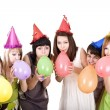 Group of teenagers celebrate birthday. — Stock Photo #1334248