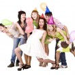 Group celebrate birthday. — Stock Photo
