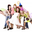 Stock Photo: Group celebrate birthday.