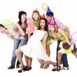 Group celebrate birthday. — Stock Photo