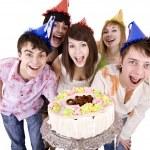 Teenagers celebrate happy birthday. — Stock Photo