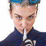 Girl scuba diver in goggles. — Stock Photo #1335911
