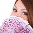 Happy woman with group of money. — Stock Photo #1336220