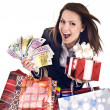 Business woman with money, gift, box. - Stock Photo