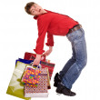 Cheerful funny happy shopping man. — Stock Photo