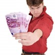 Clever strong man with euro. — Stock Photo #1336343