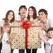 Happy family with gift box. - Stock Photo